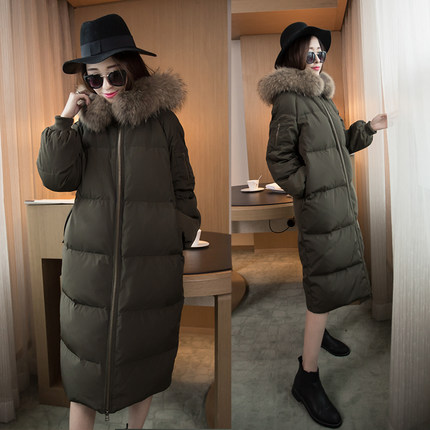 2015 new Hot winter Thicken Warm Woman Down jacket Coat Parkas Outerwear Hooded Raccoon Fur collar Brand Cold long plus size L x long woman warm winter down coat camouflage brand really fur collar hood print down jackets with pockets size m 3xl