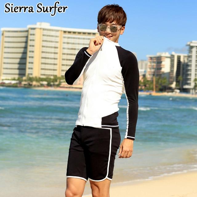 94c1f99db1dfe Windsurfing Wetsuit Tankini Swimsuits men Long Sleeve Swimsuit For Surfing  2018 Korean Men Beach Surf Flower Maillot De