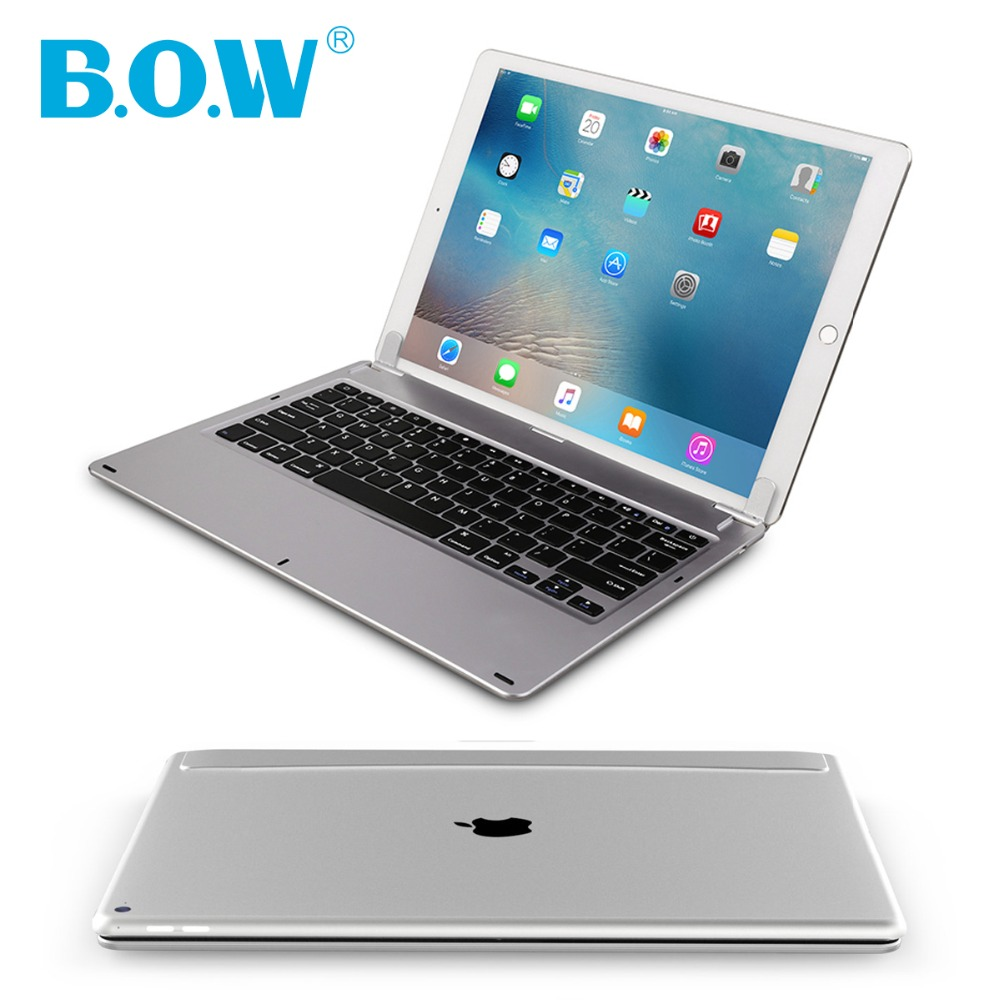 B.O.W Wireless Bluetooth Keyboard For iPad Pro 12.9 Case, ABS & Backlit Aluminum keyboard built-in Long Battery Life