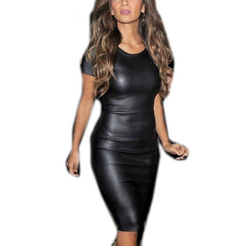 2017 summer sexy women pu leather dress short sleeve bodycon midi office dress black sexy club. Black Bedroom Furniture Sets. Home Design Ideas