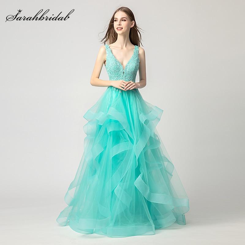 New Arrivals Lace Long Mint   Prom     Dresses   V neck Evening   Dresses   Party   Dresses   Lace Tulle Off the Shoulder Robe De Soiree WT5137