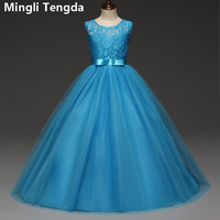 Mingli Tengda Pretty Lace Blue Flower Girl Dresses High Bow Lace Communion Dresses Pageant Dresses For Little Girls A Line 2018