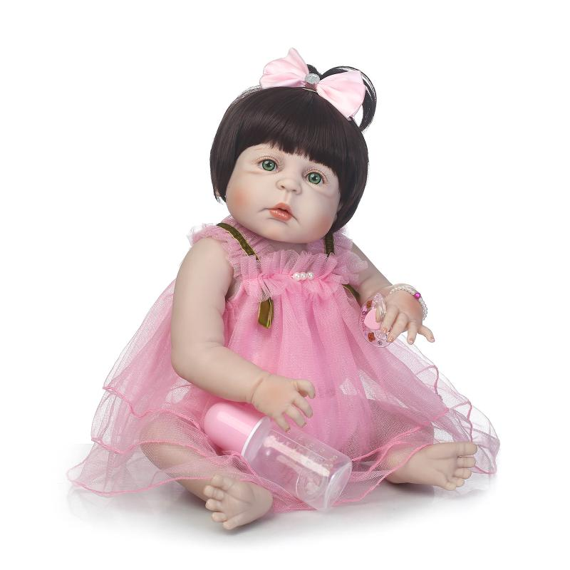 NPK22inch Handmad adora Lifelike newborn Baby girl with Pink sleeveless princess dress full silicone Bonecas Bebe Reborn doll pink wool coat doll clothes with belt for 18 american girl doll
