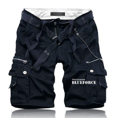 2017 New Hot Summer Casual Men Beach Shorts Solid Cotton Slim Mens Cargo Shorts (Asian size)
