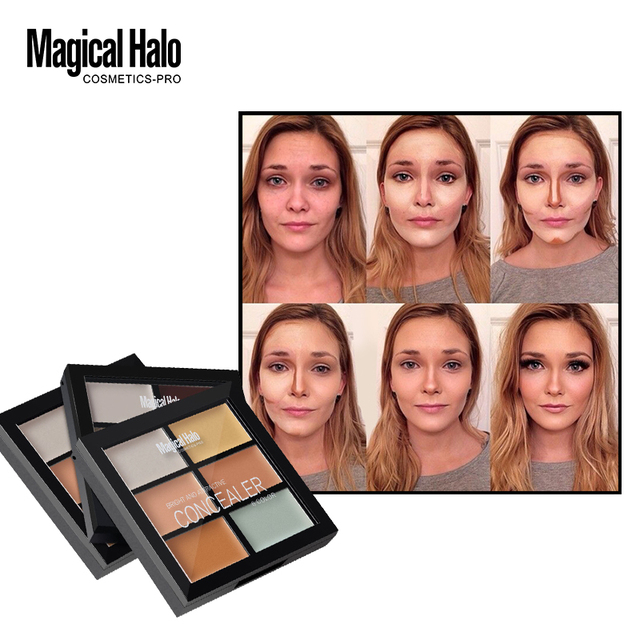 Magical Halo 6 Colors Concealer Cream Contour Palette Kit Professional Makeup Bronzer Highlighter Powder Trimming Face Brighten