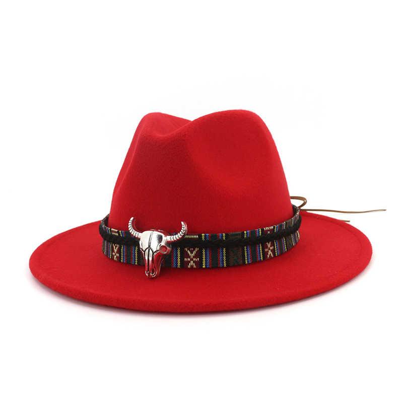 cea7010d8c Cowboy Style Leopard Leather Decorated Mens Womens Fedora Hats Wool Felt  Hat Trilby Flat Brim Jazz Cap Panama Formal Top Hat