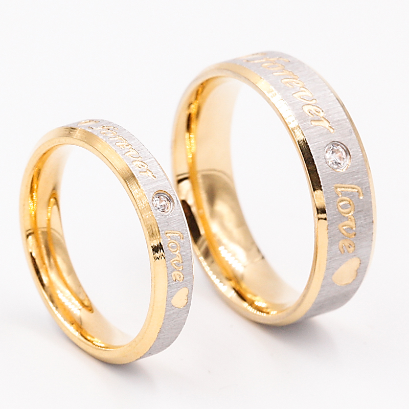 Fashion Forever Love Gold Wedding Rings Women Eternity Engagement