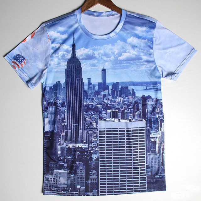 Famous Building Printing New York City Men T Shirts Short Sleeve Round Neck  Effiel Tower Design T-Shirts for Male Wholesale 9ab6bccb78c