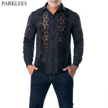 PARKLEES Velvet Paisley Luxury Design Silk Mens Dress Shirts Casual Slim Fit Golden