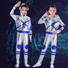 Kids Space Astronaut Dance Bodysuit Costume Boys Girls Silver Stage Jumpsuit Childs Modern Space Robot Dance Cosplay Gift(China)