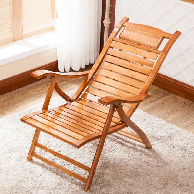 Modern Foldadble Bamboo Garden Chair Recliner Reclining Back Indoor Outdoor Balcony Furniture For Patio Porch Deck