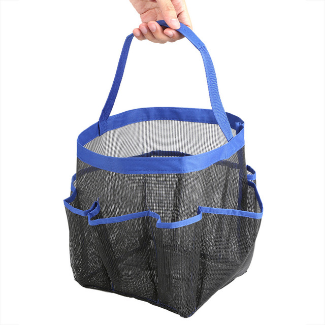 8 Pockets Storage Bags Hanging Mesh Bathroom Quick Dry Bag Shower Tote Caddy Cosmetics Organizer Portable