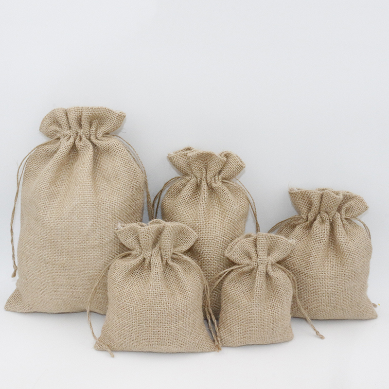 3Pcs 15x25cm Drawstring Vintage Natural Burlap Christmas Rustic Wedding Favor Jute Pouch Packaging Bags