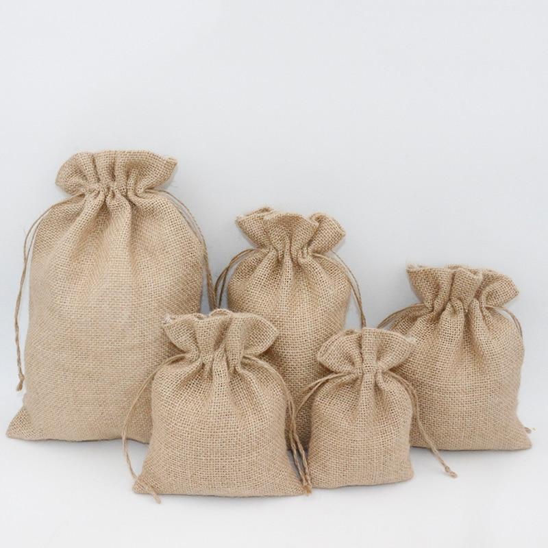 3Pcs 15x25cm Drawstring Vintage Natural Burlap Christmas Rustic Wedding Favor Jute Pouch Packaging Bags