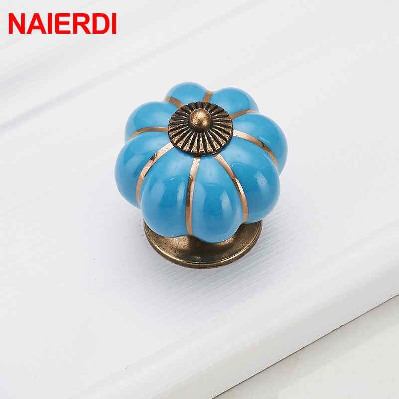 Купить с кэшбэком NAIERDI Pumpkin Ceramic Handles 40mm Drawer Knobs Cupboard Door Handles Single Hole Cabinet Handles Furniture Handles