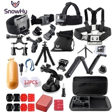 цена на Gopro accessories 3-way Tripod Monopod go pro kit mount for SJ4000 gopro hero 5 4 3 Black Edition SJCAM xiaoyi chest tripod GS46