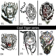 Krasivyy tiger temporary tattoos stickers new cool black body art 6 styles man flash tattoo paste makeup men fake