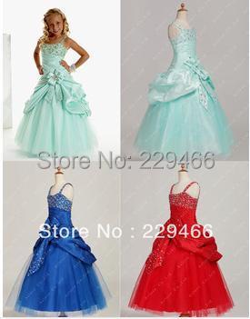 In stocking Ball gown Princess 7 Colors Real Sample Lovely Beaded Floor Length Flower Girl Dresses  Girl Pageant Dress