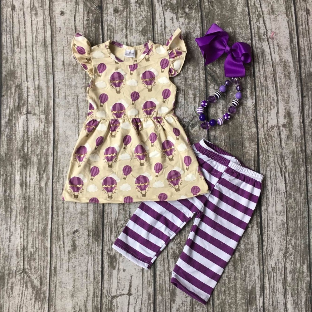 Bulk model rockets wholesale - Wholesale Bulk Summer Baby Girls Fire Air Balloon Print Boutique Striped Clothes Capris Outfit With Matching