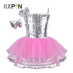 IIXPIN обувь для девочек платье в джазовом стиле танцевальный костюм наряд блестящие блёстки Сетчатое платье с Заколкой современный танец