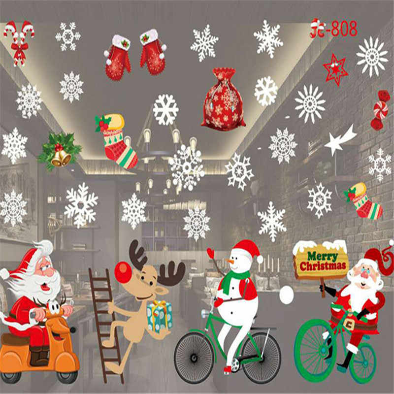 New Year Christmas Home Decor Wall StickerWindow Sticker Snowflake Santa Window Stickers Christmas wall Stickers for Kids Rooms