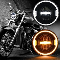 2018 New Harley 7 inch LED Headlight White Amber Halo DRL for Road King Touring Ultra Classic Electra Street Glide Yamaha Motos
