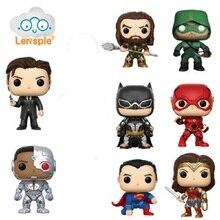 Lensple NEW 10cm Super Hero Batman Flash Cyborg Superman Aquaman Arrow action figure Toys Fit Car Decoration