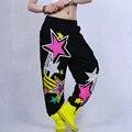 Nueva Llegada de Las Mujeres de Moda Del Doodle de Hiphop Hembra Suelta Los Pantalones y Pantalones Casuales Trajes de Bailarina de Jazz Pantalones