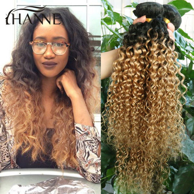 4bundles Short Curly Weave Hair Afro Kinky Curly Two Tone 1b27