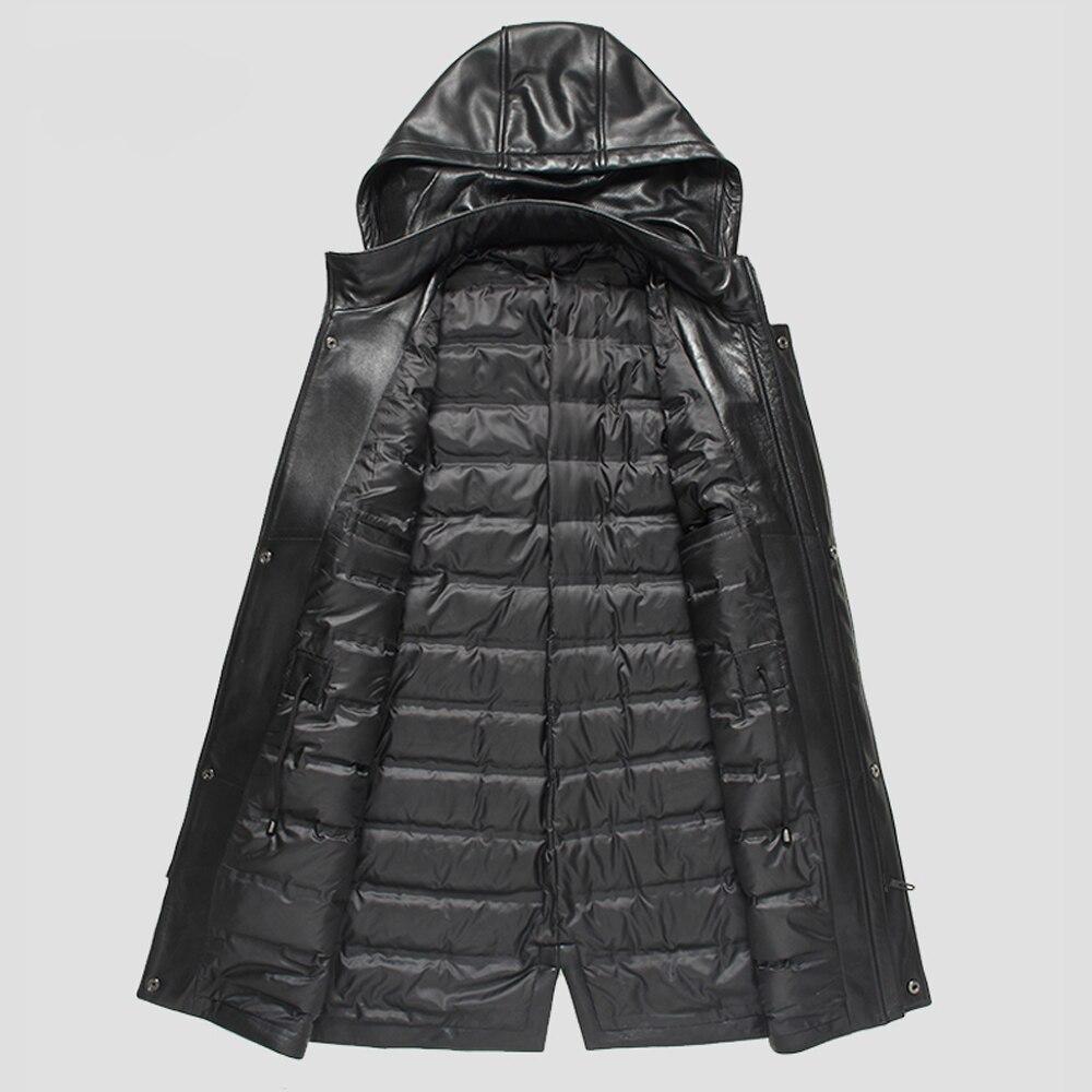 Promote Men Hooded Real Sheepskin Leather Genuine Duck Down Medium Long Jacket Down Winter Men Clothing