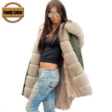 FL Brand 2016 Real Rex Rabbit Fur American Military Parka with Hood Long Women Cmouflage Army Coat with Fur Liner Wadded Jacket
