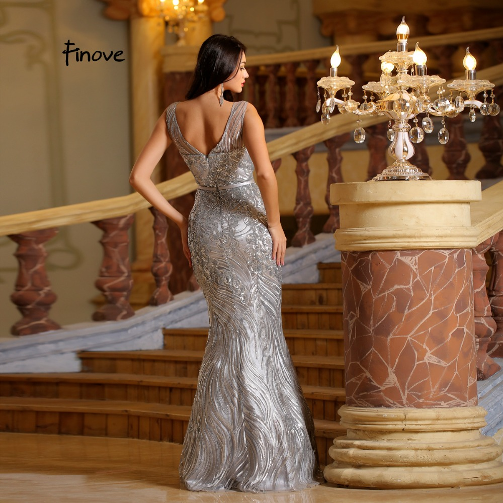 Finove Sliver Long Dress Stunning 2018 New Arrivals Elegant Scoop - Հատուկ առիթի զգեստներ - Լուսանկար 4