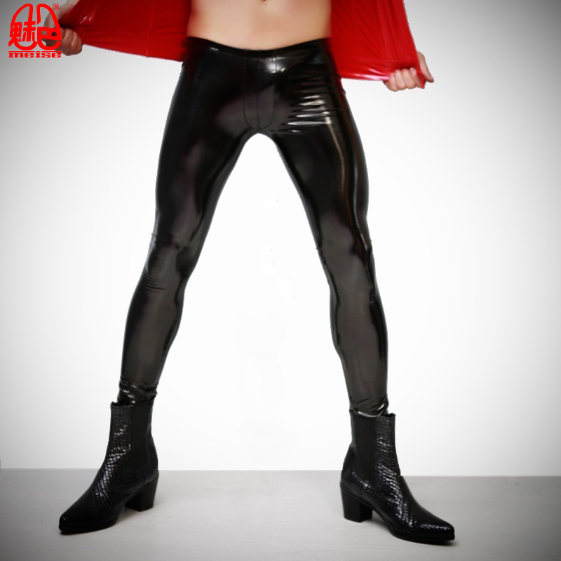 Fad Man Plus Size Faux Leather PU Shiny Punk Pencil Pants Glossy Sexy High Elastic Tight Trousers Skinny Highlight Stage Legging
