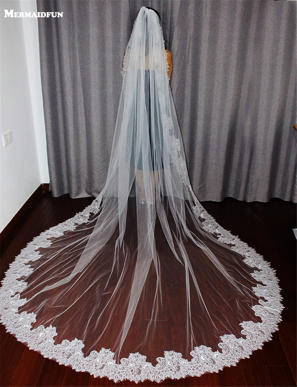 2019 Cathedral Wedding Veil Wholesale / Retail 100% Lace Edge 3M Long Lace Veil Wedding / Bridal Veil / Bridal Accessories / Head velo