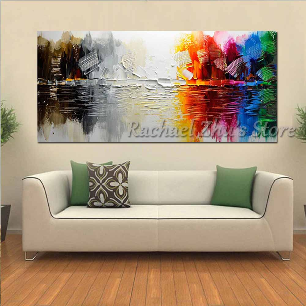 Купить с кэшбэком 100% Hand Painted Abstract Color Wall Picture Oil Painting On Canvas Modern Color Art Palette Knife Living Room Home Wall Decor