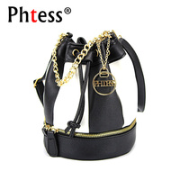 PHTESS New Hit Color Women Mini Bucket Bag Female Leather Shoulder Bags For Women Bucket Chain
