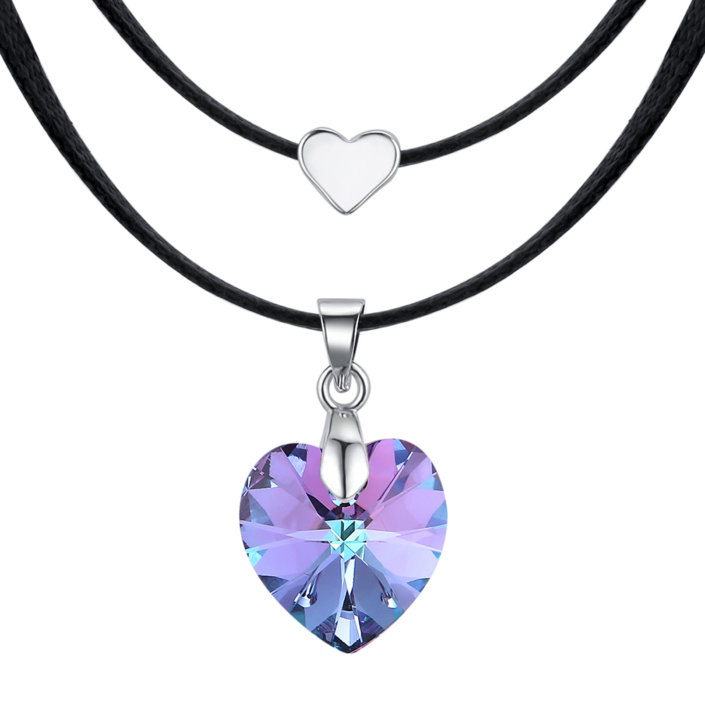 13d12625a122 BAFFIN corazón cristal de Swarovski moda collares para mujeres doble cuerda  cadena collares declaración joyería de boda - a.spelacasino.me