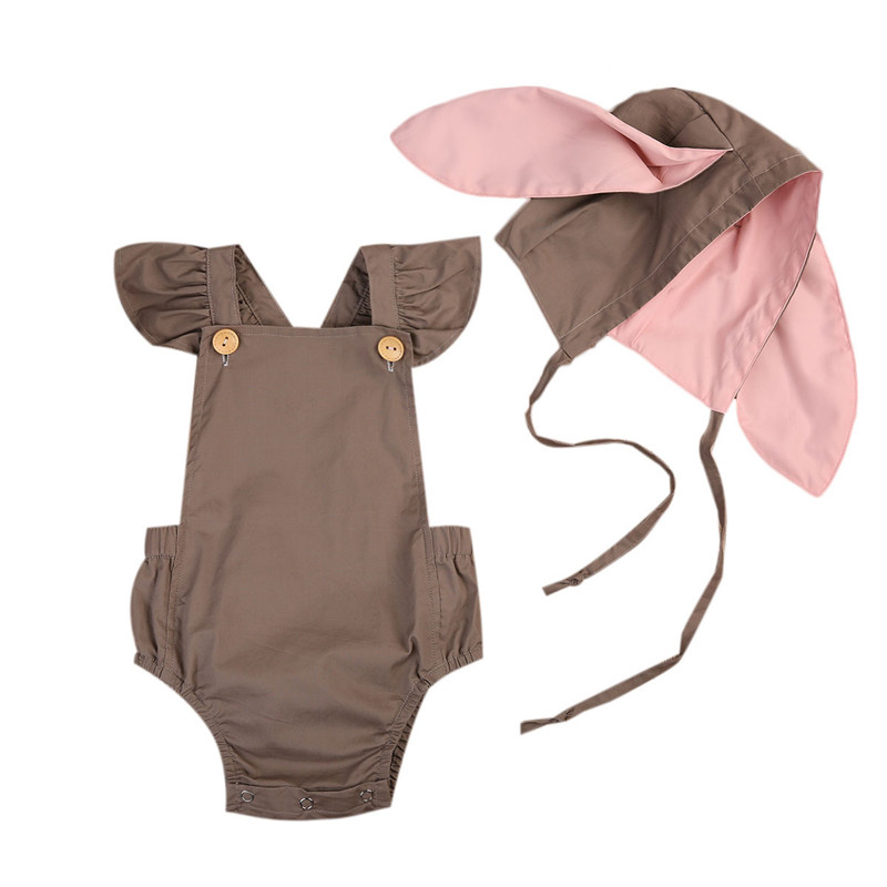 2PCS Cute Newborn Baby Girl Clothes 2017 Summer Solid Color Ruffles Baby Romper+Bunny Hat Outfits Sunsuit Kids Clothing 0-24M 2017 floral baby romper newborn baby girl clothes ruffles sleeve bodysuit headband 2pcs outfit bebek giyim sunsuit 0 24m