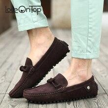 Мужские мокасины Loveontop, коричневые повседневные кожаные туфли без застежки, удобная обувь для вождения, 2019