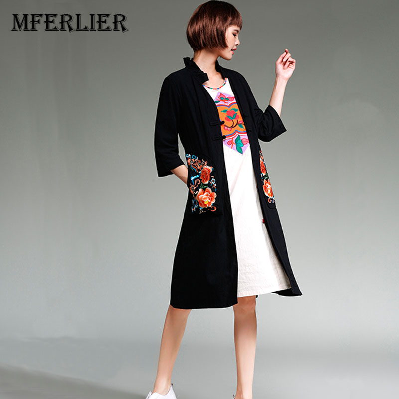 Trench   Coat Women Winter and Autumn Chinese Style Mandarin Collar Embroidery Cotton and Linen Long   Trench   Coat