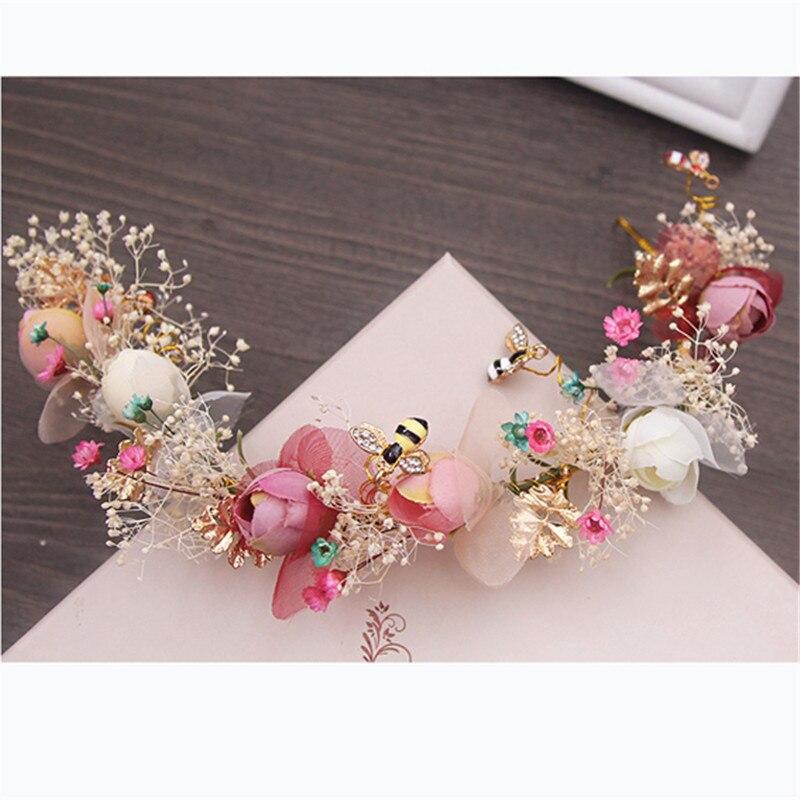 Handmade Natural Flower Flying Bee Vine Bridal Tiara Crown Bride Headpiece Women Hair Ornaments Wedding Hair Jewelry Accessories