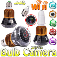 1080P Full HD WiFi Mini Network Wireless Security CCTV Lamp Camera Wide Angle Bulb DVR Support