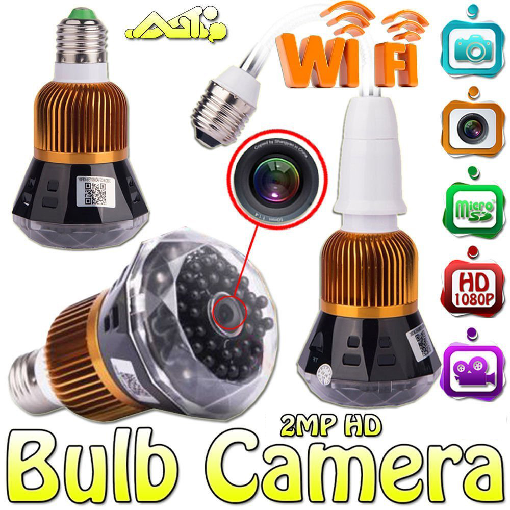 1080P Full-HD WiFi Mini Network Wireless Security CCTV Lamp Camera Wide Angle Bulb DVR Support ios/Android Remote Viewing