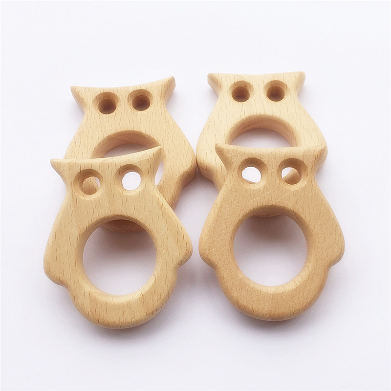 Купить с кэшбэком Chenkai 10pcs Wooden Teether Nature Baby Teething Grasping Toy DIY Organic Eco-friendly Wood Teething Accessories