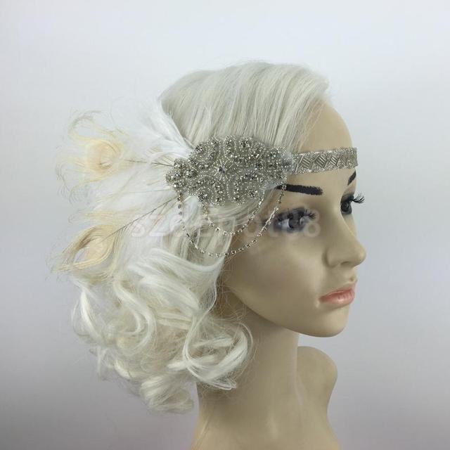 298d7178a406e Diamante Feather 1920s Flapper Headpiece Headband Fancy Great Gatsby White