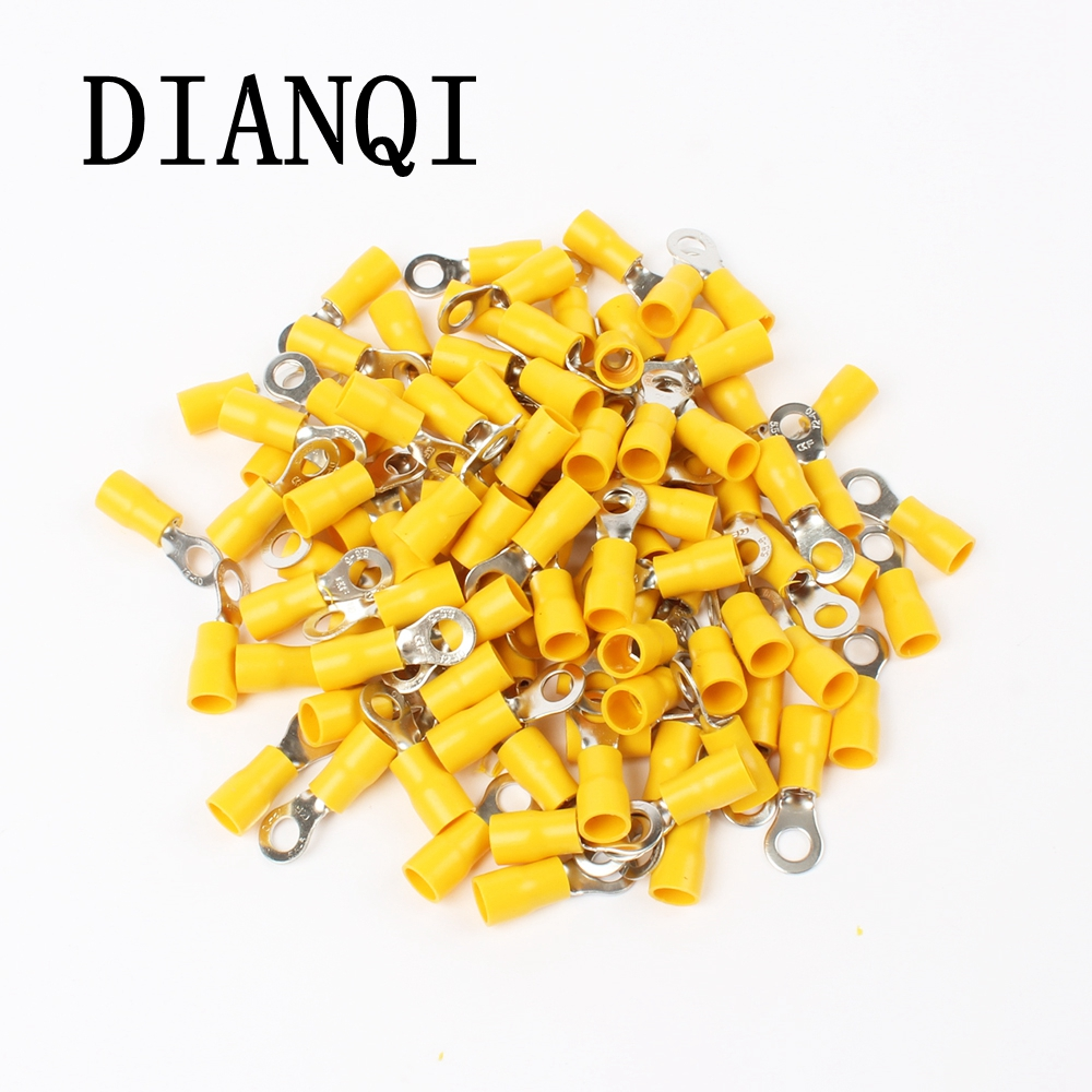 цена на DIANQI RV5.5-5 Yellow Ring insulated terminal cable Crimp Terminal  100PCS/Pack suit 4-6mm2 Cable Wire Connector RV5-5 RV