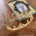 Homens Grande Cristal Ouro barroco Do Vintage Rodada Completa Prom Rei Crown Casamento Pageant Rainha Tiara de Noiva Jóias Cabelo Diadema
