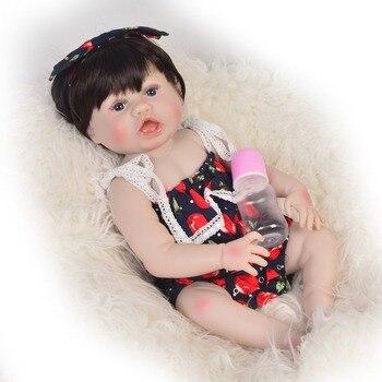 55cm Full Silicone Vinyl Reborn Baby Doll girl Surprise gift Toy  Bonecas open mouth Newborn Princess Babies Bebe Bathe Toy Gift
