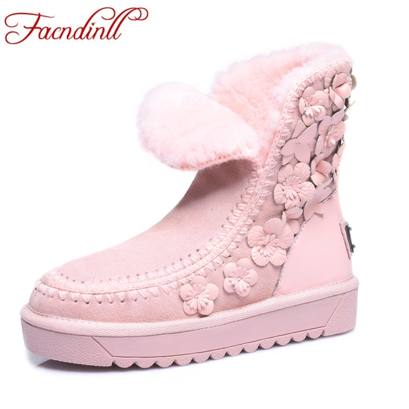 FACNDINLL new 2017 women winter snow boots med heels round toe platform shoes woman warm fur ankle boots for women black pink new fashion women s autumn winter ankle boots sexy round toe casual shoes women med heels woman martin black shoes riding boots