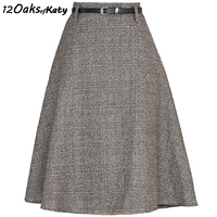 12 OAKS OF KATY Office Lady Western Skirt Autumn And Winter High Waist A Line Belt